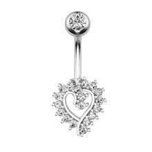 1 шт. кольцо из нержавеющей стали с кристаллами для пупка модное креативное женское сердце для пупка кольцо для пирсинга ювелирные изделия п...(Китай)