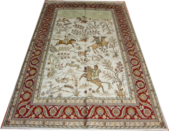 Yamei 5'x8' special turkish design hot selling in Arab market silk tapestry hand knitted silk on silk persian carpet