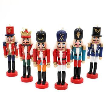 12.5cm Miniature Figurines Vintage Handcraft Puppet Wooden Nutcracker Doll Soldier For New Year Christmas Ornaments Home Decor
