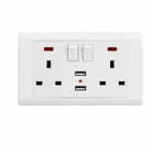 Uk Electric Switches Electric Switch Sockets UK Plug 3 Hole Electrical Dual USB 2 Outlet Switch Wall Socket
