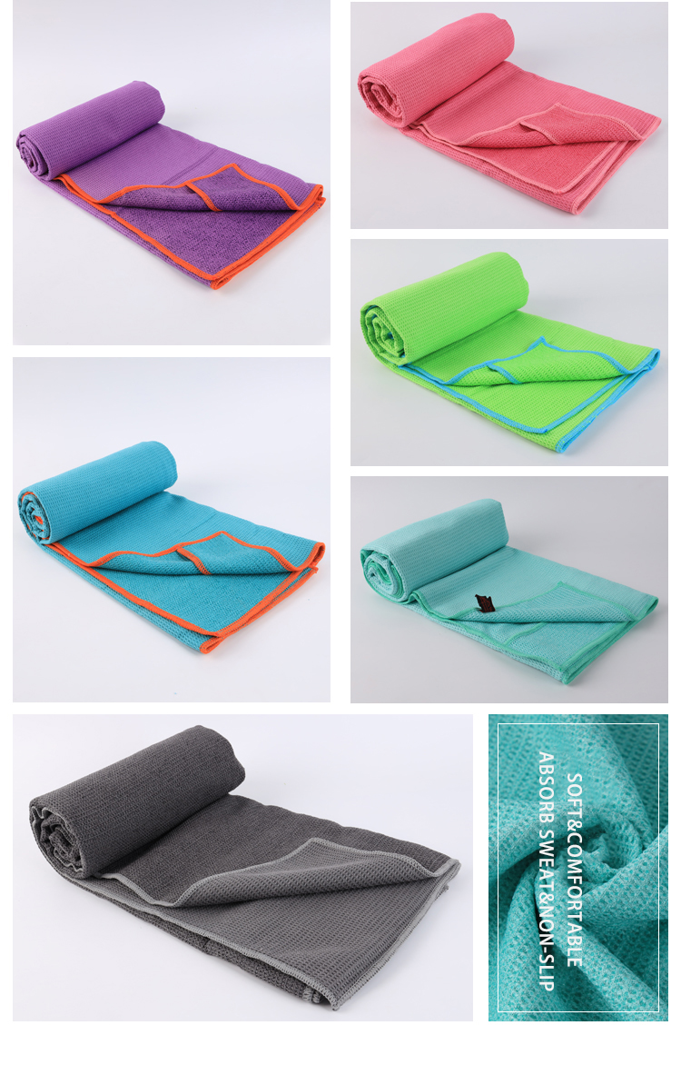 Изготовленный на заказ на нескользящей подошве вафельное микрофибровое Горячая йога коврики полотенца для спорта