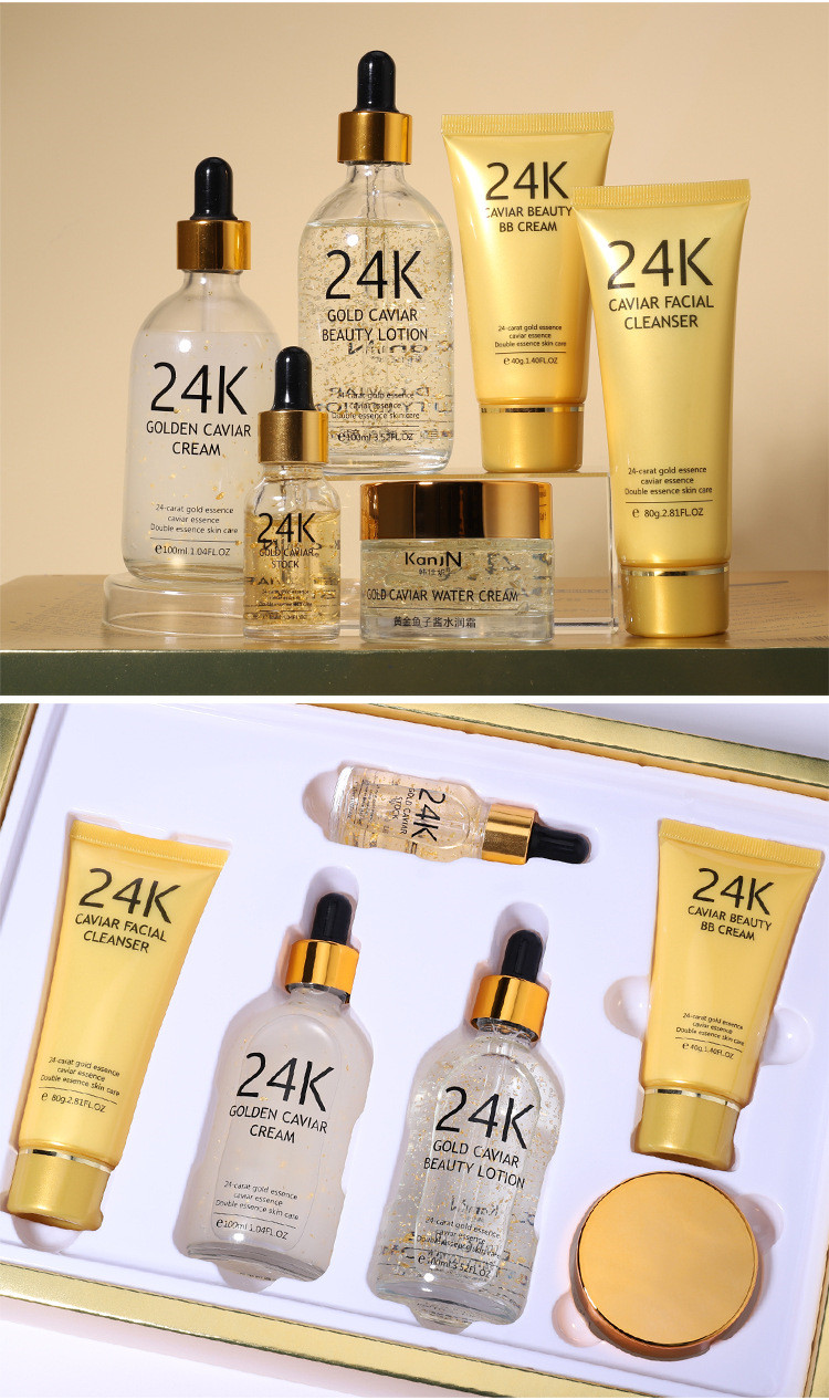 Private Label Huidverzorging Gift Set 24 K Gold Caviar Cosmetische Huid + Care + Set