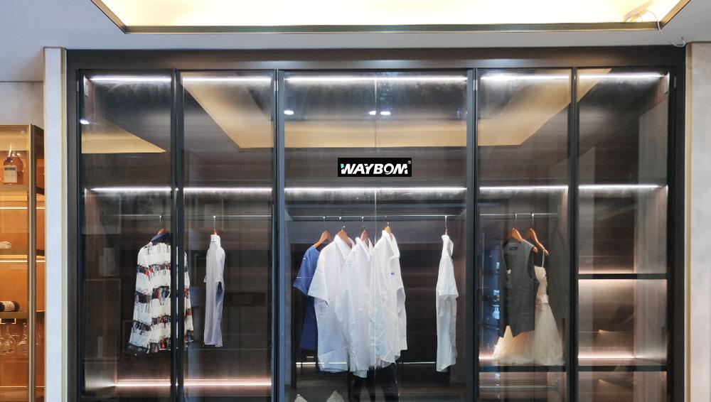Transparent Glass Door Multi-layer Furniture Display Closet Organizer Wardrobe