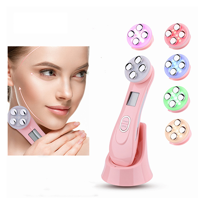 Hot products 2020 Skin Rejuvenation Ionic Photon 3MHz galvanic microcurrent facial massager 5 in 1 led skin tightening