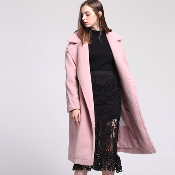 Superior Quality Fashion Long pink real fur coat women wool Coat For ladies