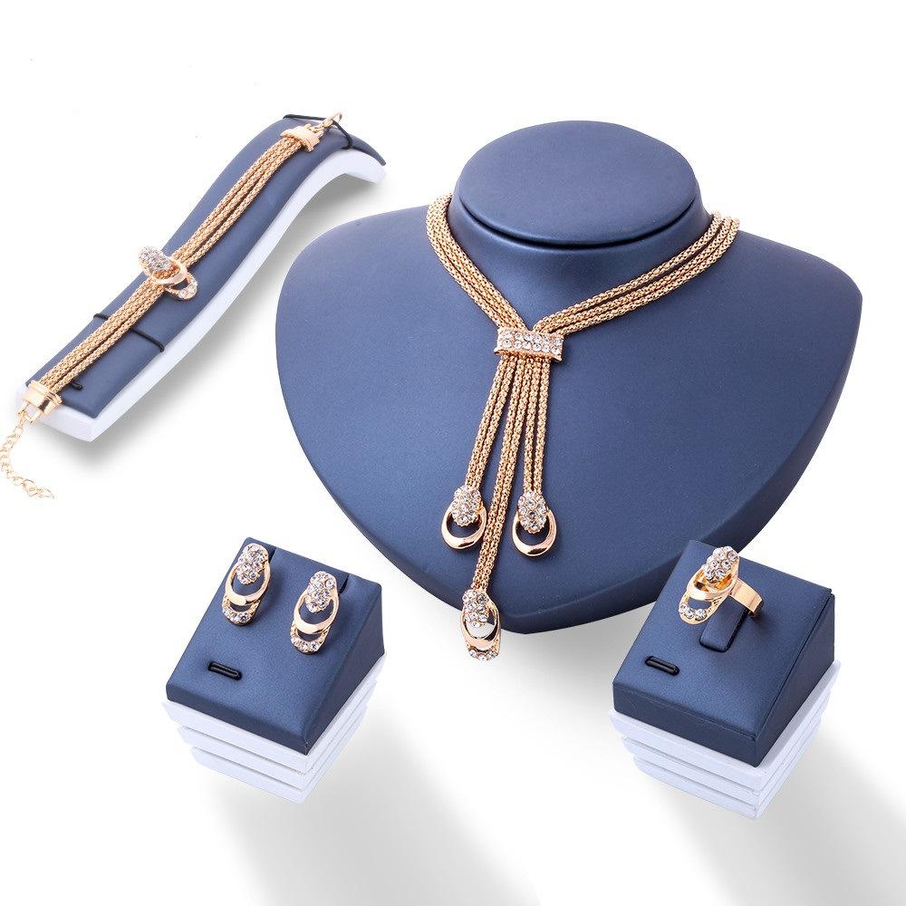 Cristal quatre pièces femmes ensembles de bijoux de mariée