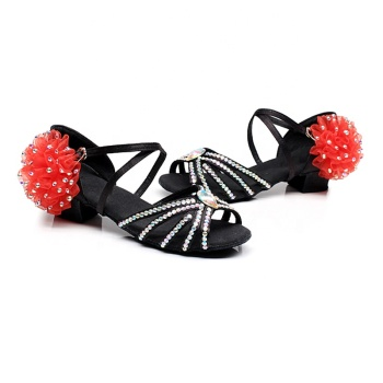 Summer Children's Diamonds Latin Girls Practice Shoes Professional Soft Bottom Ballroom Latin Competition Dance Shoes
