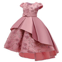 High Quality Summer Frock Kids Party Wear Flower Girl Western Party Formal Trailing Birthday Dress T5170