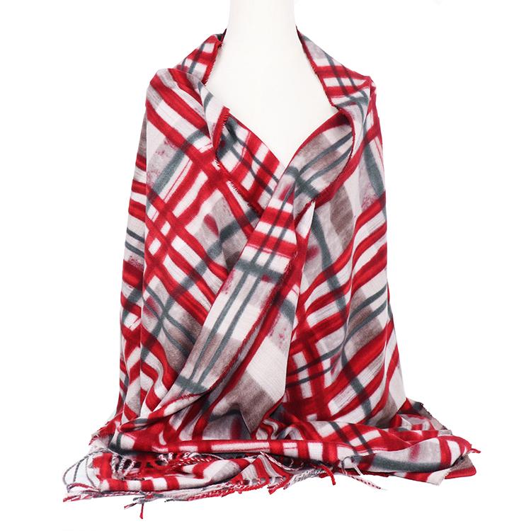 Musim Dingin Plaid Syal Hangat Polyester Motif Brushed Syal Cuaca Dingin Cetakan untuk Wanita