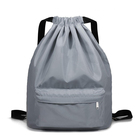Private Logo Printing Gray Color Drawstring Sports Backpack Shoe Bag with Nylon String