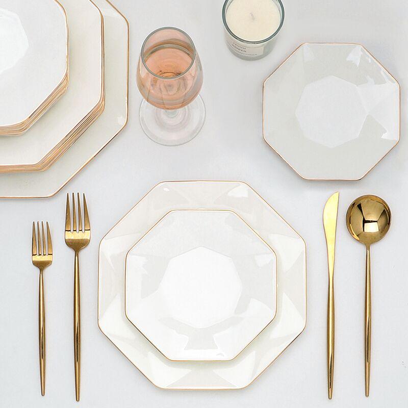 white Personal plate for restaurants porcelain tableware decorative gold rim Dinnerware+Sets luxury bone China dinner set