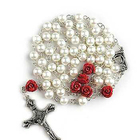 8mm Cream Pearl Beads Rosary Rose Mary and Jesus Prayer Rosaries Religious Cross Necklace