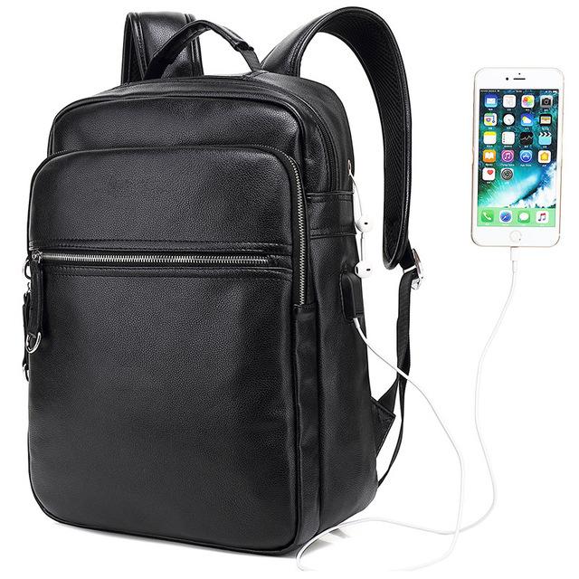 Venta al por mayor mochila de cuero negra Compre online los
