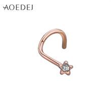 AOEDEJ 20 г шпильки для носа хирургическая сталь Ноздри штифты, винты кольцо для носа из нержавеющей стали стальной нос кольцо пирсинг тела чере...(China)
