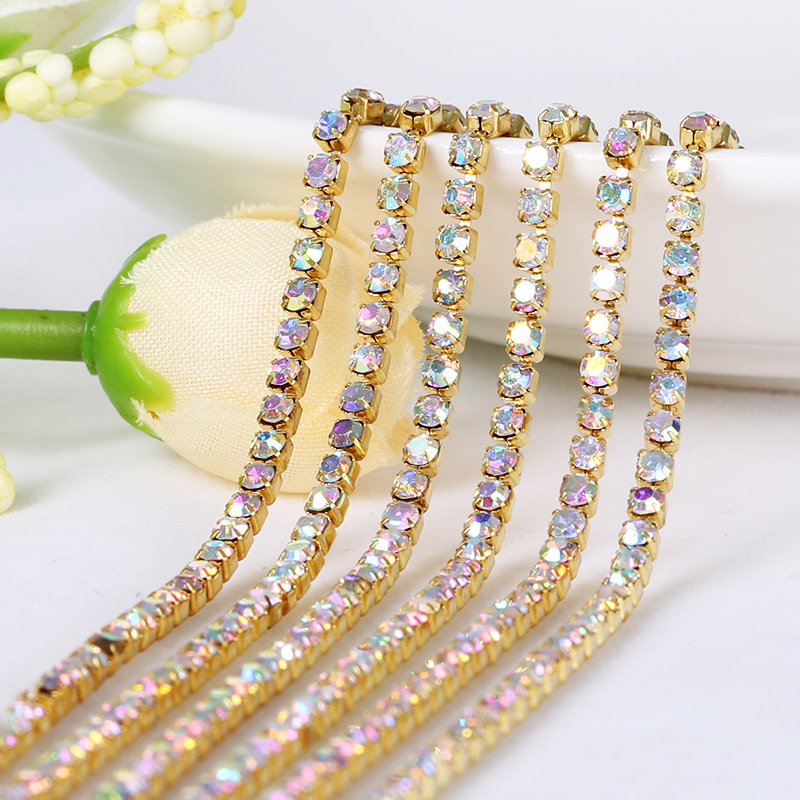 Retail Strass Messing Beker Ketting Voor Sieraden Kleding Decoratie Accessoires Gouden AB Crystal Glas Strass Trim Gratis verzending