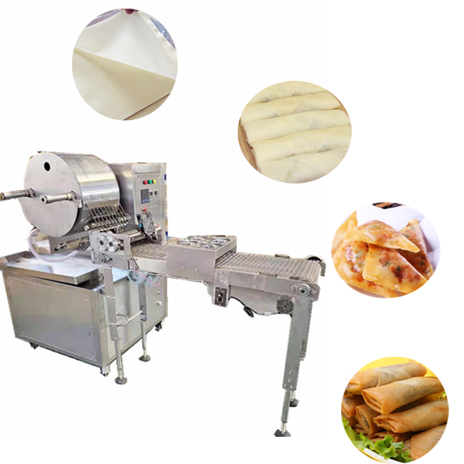 Fully Automatic Pancake Chapati Spring Roll Wrapper Maker Machine Spring Roll Sheet/Lumpia/Samosa Pastry Sheet Making machine