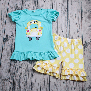 fashion summer girl 2 pcs clothes outfit embroidery school car top and dot ruffle shorts clothes for girl boutique clothing set