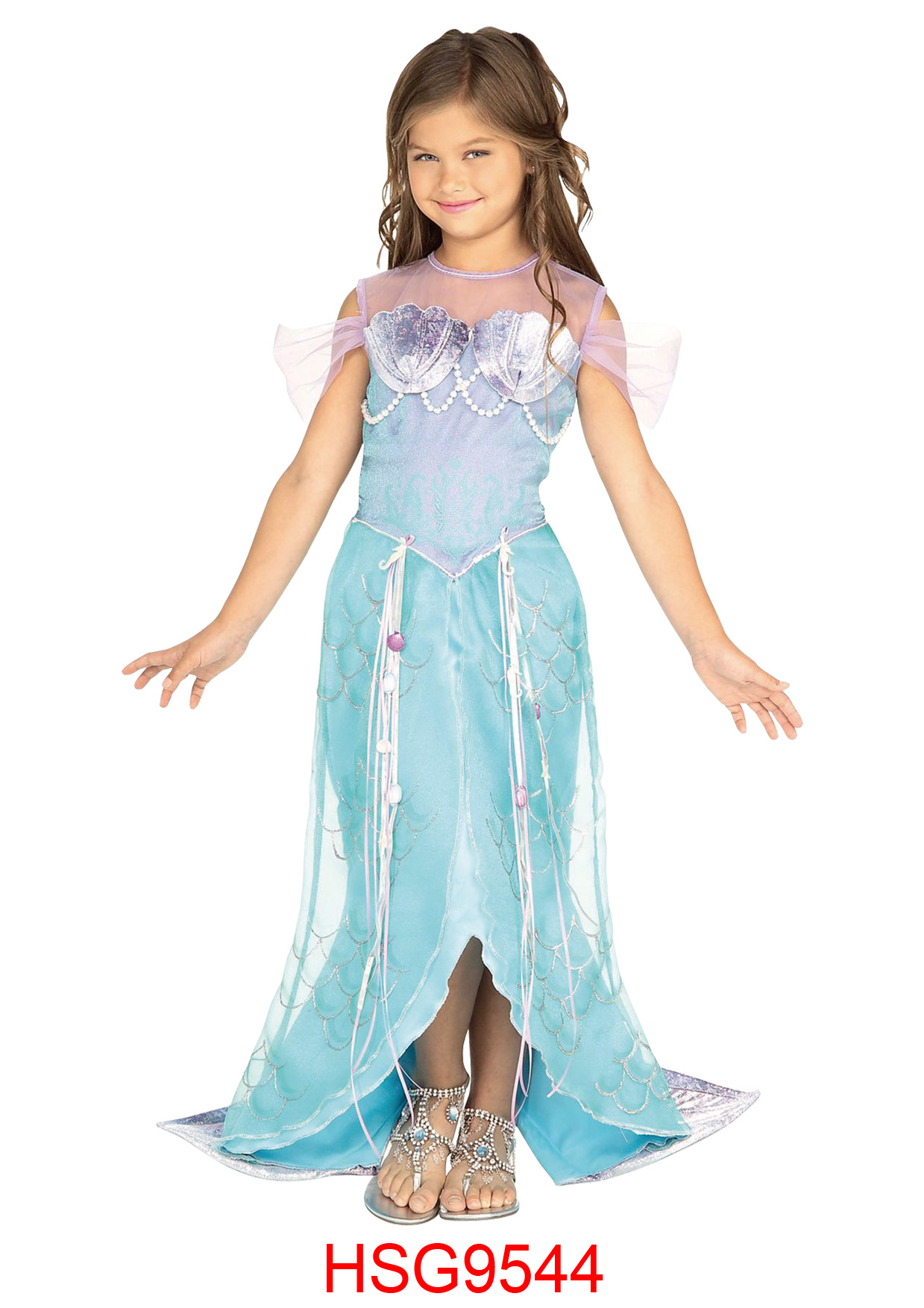 Halloween Kinderen Cosplay Mermaid Prinses Blauw Paars Jurk Party-HSG9544