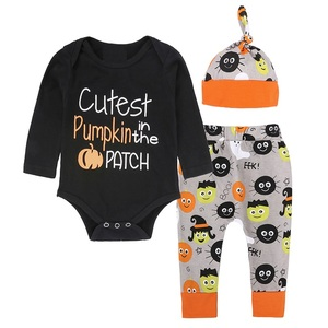 Cute cotton newborn baby boy top romper pants hat outfits set clothes 3 pcs baby halloween outfit