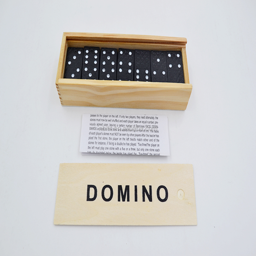 High quality educational toys double six dominoes set with wooden box and 28 pcs domino game set