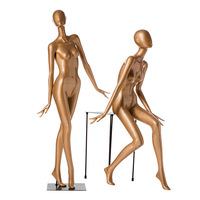 Creative personality golden full body female mannequin for clothing window display props