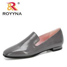 Женские дизайнерские туфли-лодочки ROYYNA, кожаные модельные туфли на низком каблуке, свадебные туфли-лодочки с квадратным носком, 2020(China)