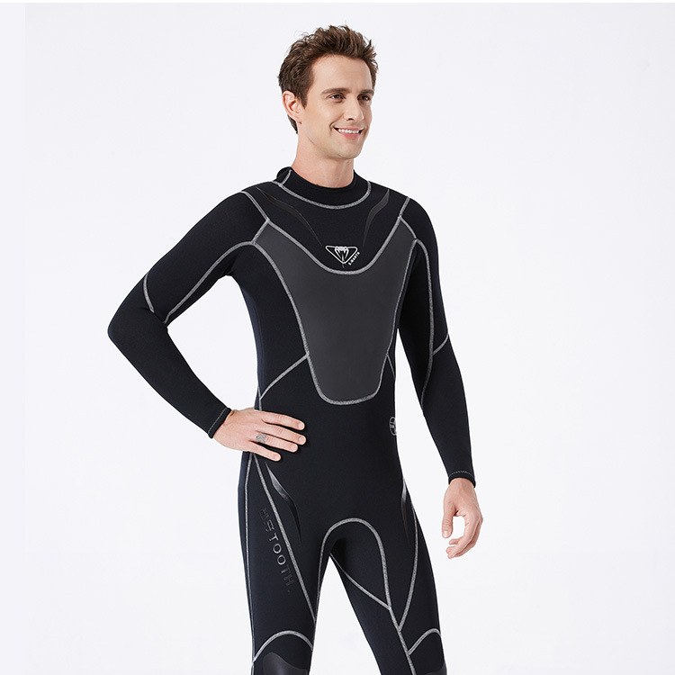 New 3mm wetsuit men's wet one-piece warm snorkeling suit long sleeve cold surfing winter swimsuit