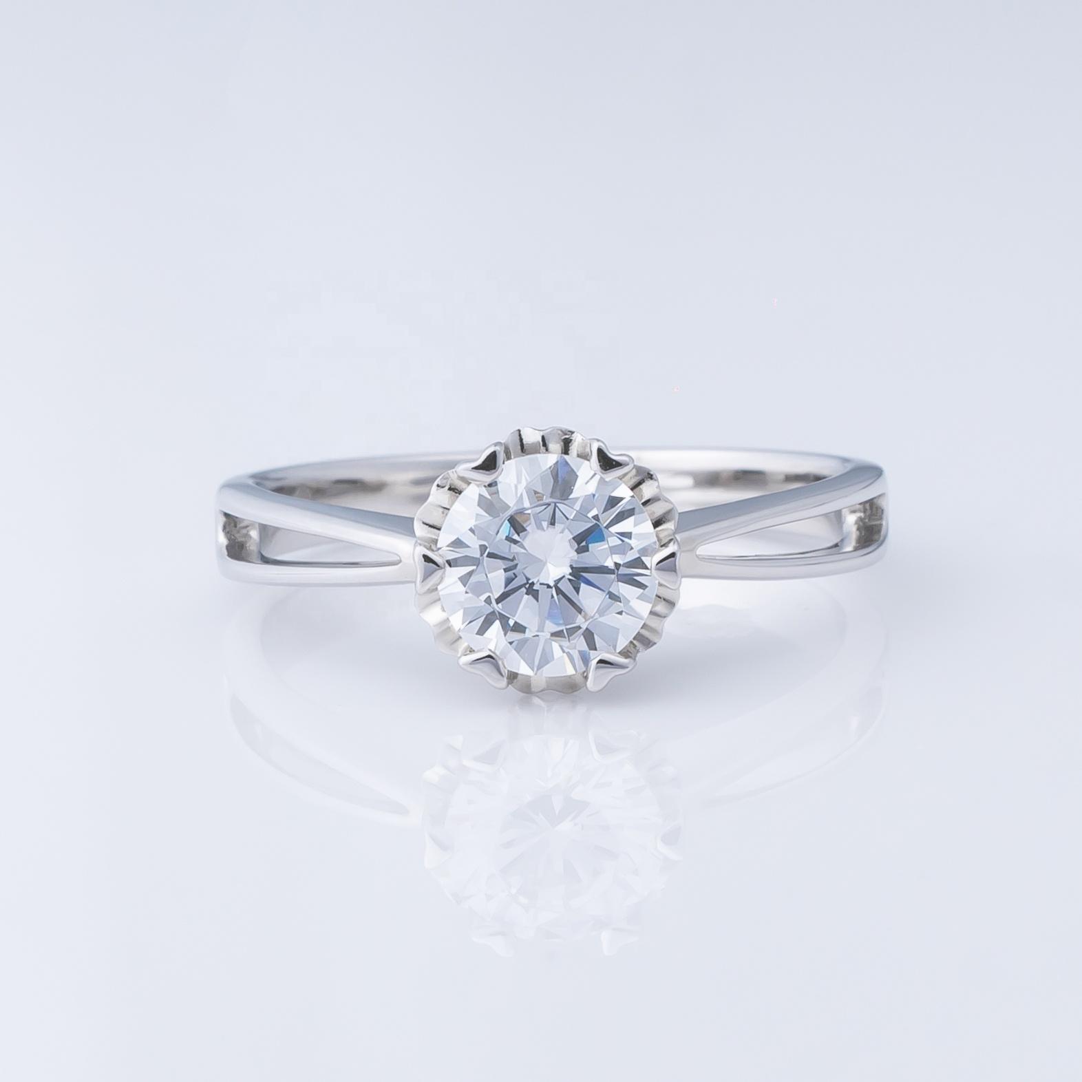 Grosir Perhiasan, Pengaturan Cincin Pertunangan Berlian Emas Disesuaikan 9K 14K 18K Perhiasan Emas Padat Cincin Kustom Gaya Elegan