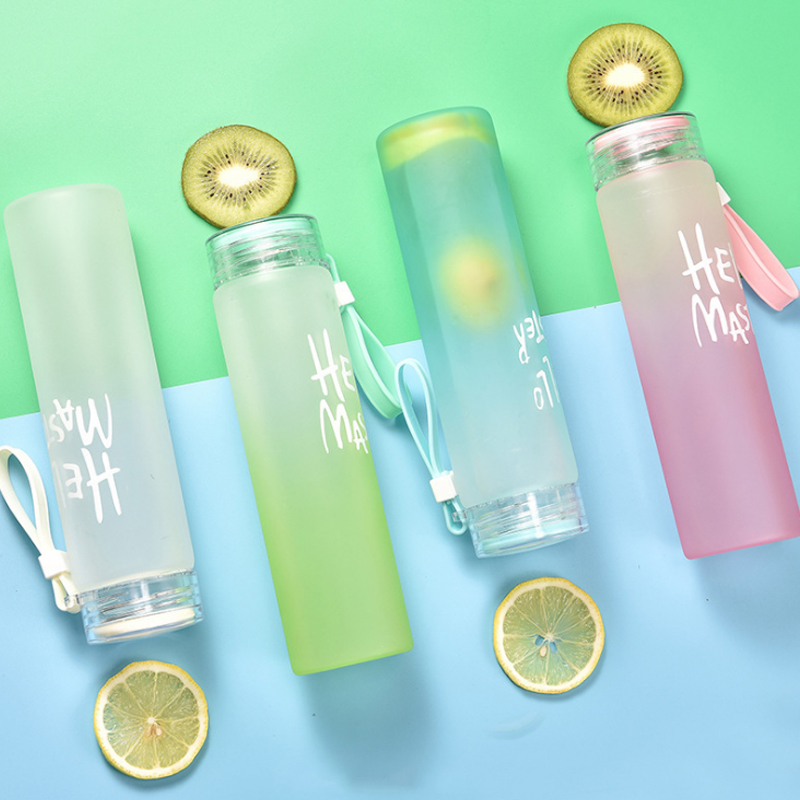 Sports 480ml Glass Water Bottle Juice Space Colorful Frosted Bottle Glass for Water