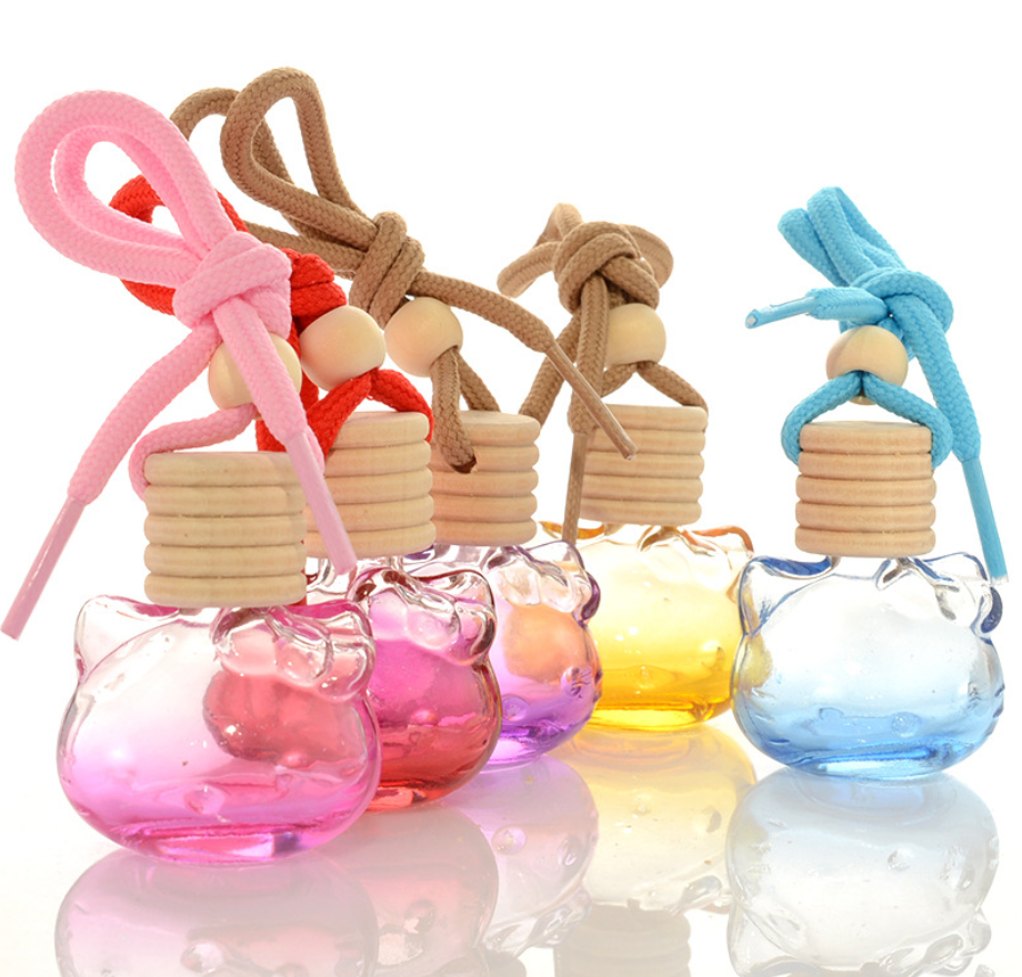11ml hello kitty shaped clear empty perfume diffuser cat car hanging glass bottle for air freshener with wooden cap and rope