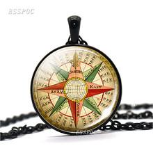 Популярная круглая бижутерия со стеклянными кабошонами, подвеска с компасом в стиле стимпанк, винтажная подвеска с компасом, колье, украшен...(Китай)