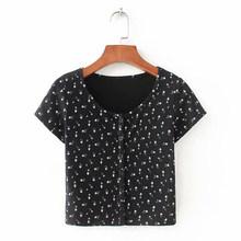 Женские укороченные рубашки с цветочным принтом на пуговицах, с круглым вырезом, с коротким рукавом, тонкий женский укороченный топ 2020, летн...(Китай)