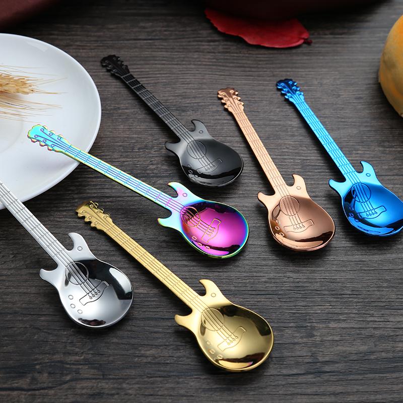 Guitar Spoon Colorful Stainless Steel Tea Dinner Table Mixing Spoon Kit Dessert Coffee Sugar Ice Cream Spoon Milkshake