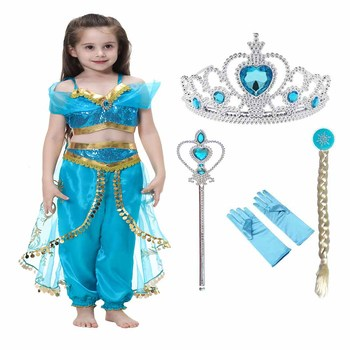 Princess Saudi Arabia Jasmine Fever Frozen Anna Elsa Sofia Dress Costume Clothes QKC-2079