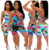 2020 qzbaoshu jumpsuits women printed bodycon summer short jumpsuit