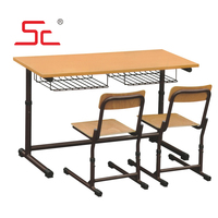 cheap price double student table and chair school furniture student desk double