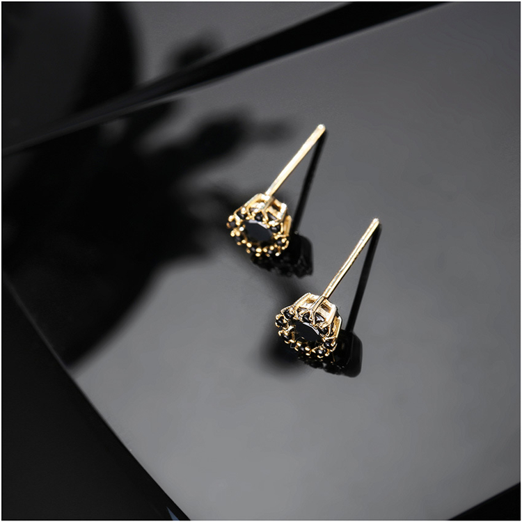 Simple Jewelry Real Gold Plated S925 Sterling Silver Black Cubic Zirconia CZ Stud Earring