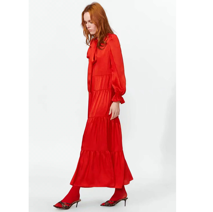 2020 Spring New Style <strong>Red</strong> Long Sleeve Bowknot Tie Layered Maxi Casual <strong>Dresses</strong> Women