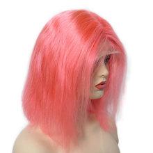 Парики из натуральных волос на кружеве с цветным Бобом 13х6, бразильский прямой короткий парик с кружевом для женщин, черный, 150 плотность, бло...(Китай)
