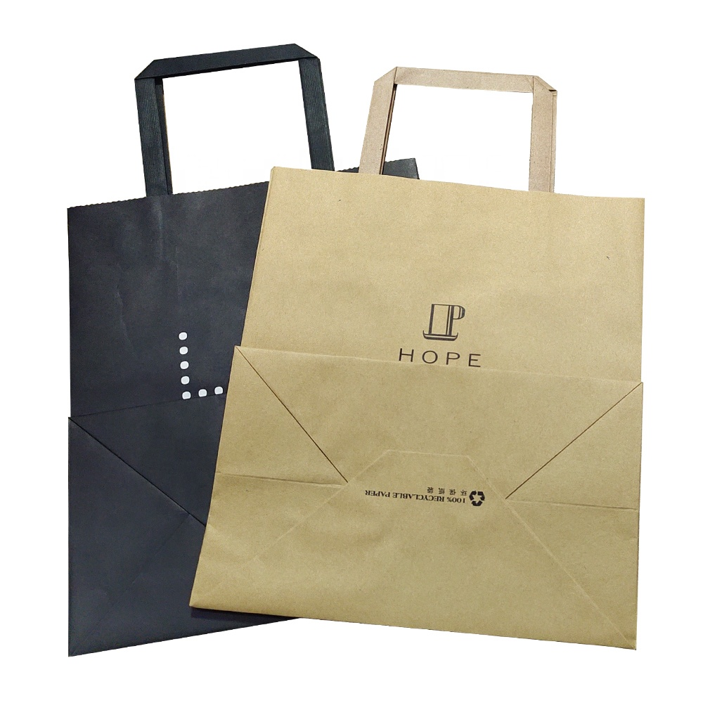 Custom Printed Paper Bag With Handle Flat
