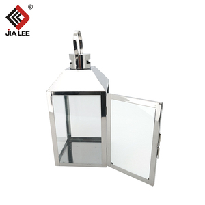 New outdoor small clear glass hurricane stainless steel candle holder lantern with glass panels