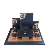 High Quality Luxury PU Leather Jewellery Display Ring Earring Necklace Stands Set Wooden Jewelry Display Set