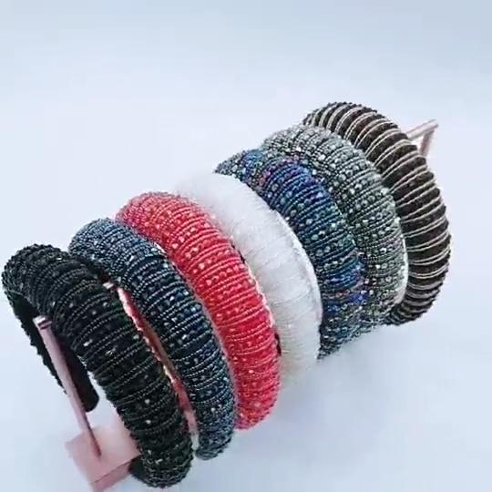 Hot Sale Baroque Glitter Manik-manik Bedazzled Fashion Empuk Desainer Mutiara Wanita Berkilau Ikat Kepala