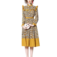 2019 Guangzhou OEM Factory Hot Sale Latest New Design Long Sleeve Casual Summer High Quality Women Fashion Leopard Print Dress