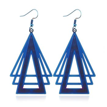 Trend Geometric Stainless Steel Earring For Women Delicate Color Earrings Ladies Fashion Color Triangle Earrings