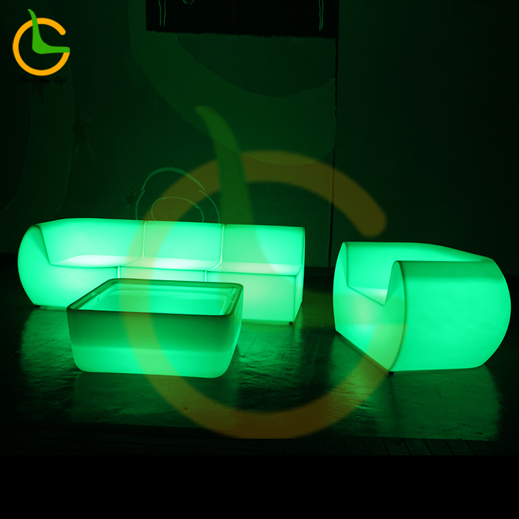 High quality 16 color changing plastic illuminated led glowing outdoor sectional garden sofa set