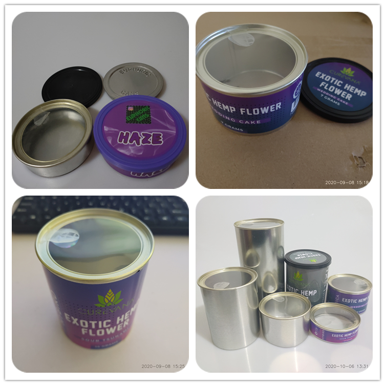 Purple Punch push in can    Cali pressitin Tin can 73*23mm Tuna Tins with Stickers hold 3.5gram dry herb flower