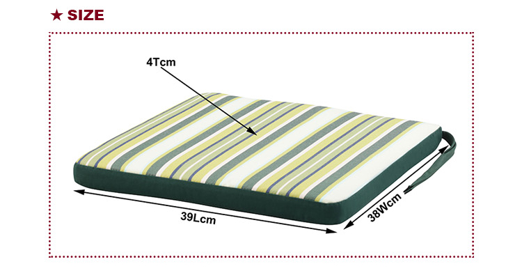 Factory Direct Sale Green Stripe Discount Garden Cushion Foam Seat Cushion Chair Pads