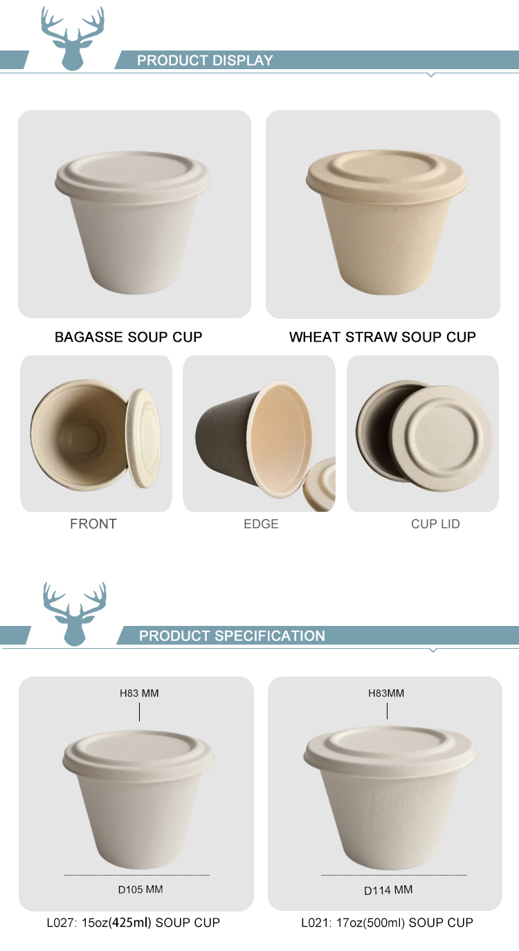 biodegradable bagasse pulp moulded takeout soup cup