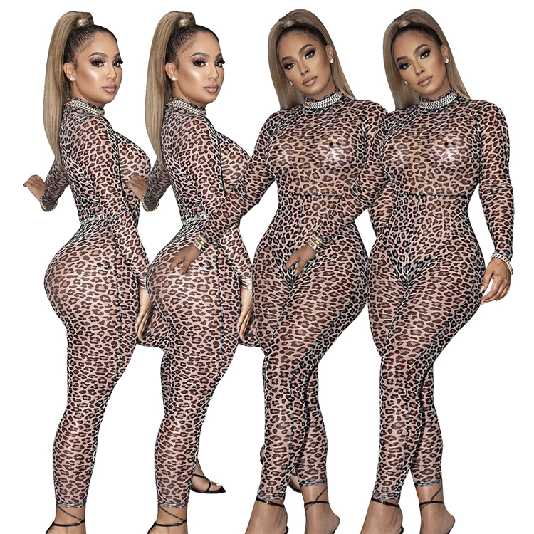 Best Design Fall New Leopard Print Long Sleeve Sexy Bodycon Jumpsuit Bodysuit Women One Piece Jumpsuits And Rompers